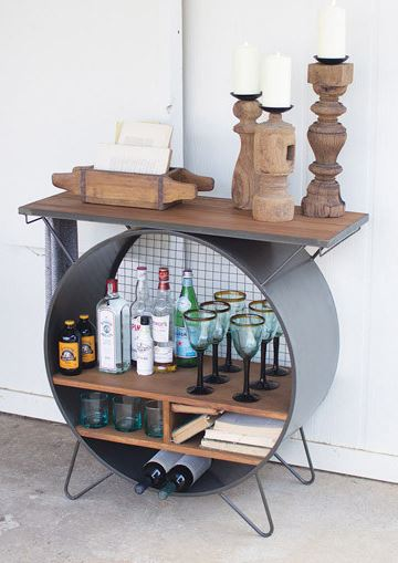 round metal cubby console