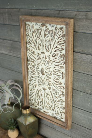 wood framed metal wall decor