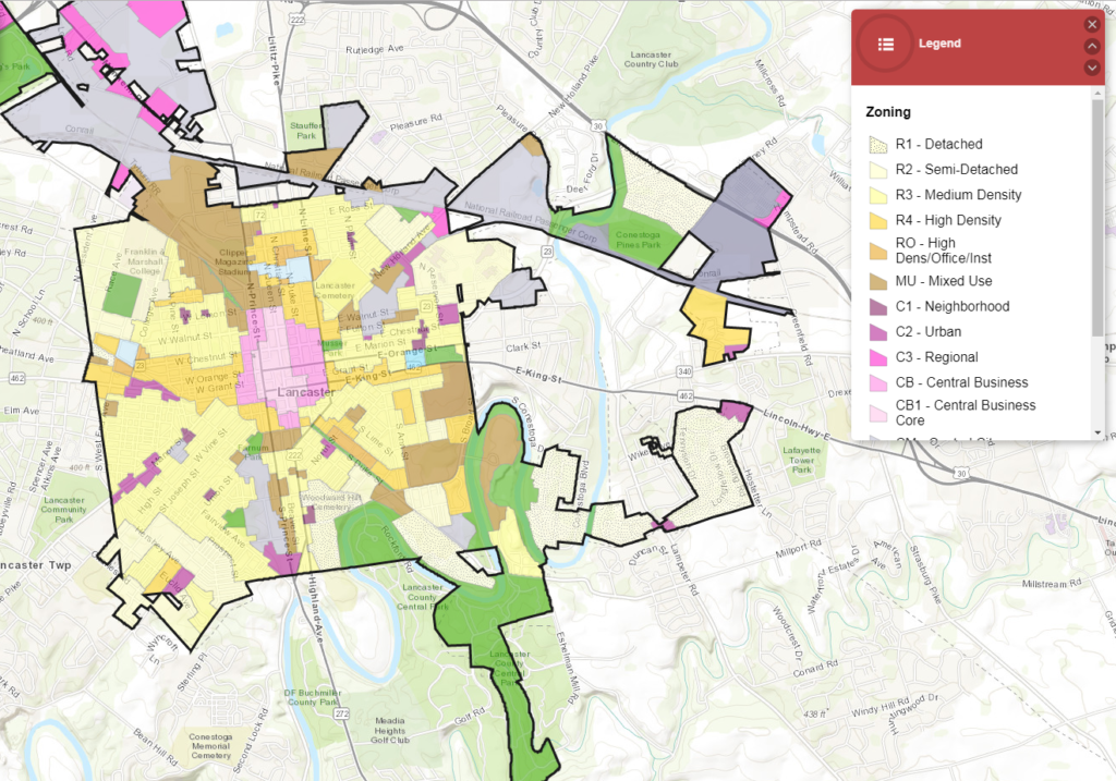 City of Lancaster Zoning Map
