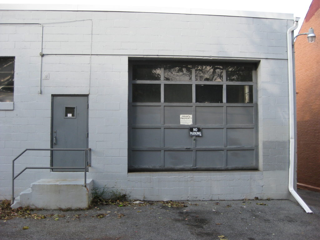 Loading dock door in its original position
